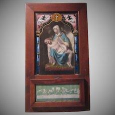 Virgin Mary Holding Jesus Pieta Statue in Viaticum Antique Box Reverse Painted Glass