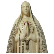 Virgin Mary Immaculate Heart Statue Figurine Rosary Case