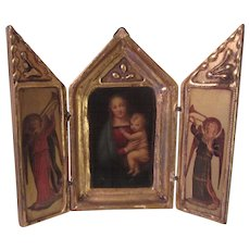 Virgin Mary Madonna Italian Florentine Triptych House Blessing Icon Religious Art Angels
