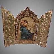 Virgin Mary Jesus Italian Florentine House Blessing Prayer Icon Triptych Religious Art