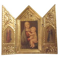Virgin Mary Jesus Italian Florentine House Blessing Prayer Icon Triptych Religious Art Madonna of the Grand