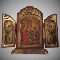 Virgin Mary Jesus Orthodox Prayer Icon Triptych Religious Art Angels