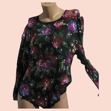 Laurence Kazar Black Silk Color Sequin Floral Blouse Sz L