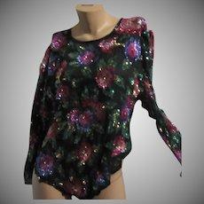 Laurence Kazar Black Silk Color Sequin Floral Blouse Sz L
