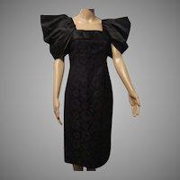 Adele Simpson Black Lace Silk Sheath  Cocktail Evening Dress Sz 6