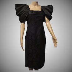 Adele Simpson Black Lace Silk Sheath  Cocktail Evening Dress Sz 6