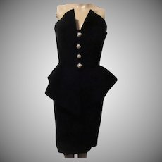 Victor Costa Black Velvet Strapless Sheath Evening Formal Cocktail Dress Sz 6
