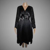 Helga Black Silk Dress Party Evening Vintage Cocktail
