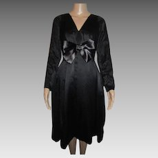 Helga Black Silk Dress Party Evening Vintage Cocktail