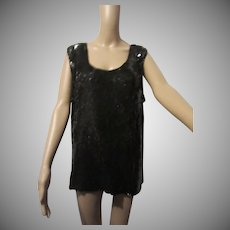 Gunit Black Sequin Tank Top Blouse Formal Evening Cocktail Sz XL Vintage