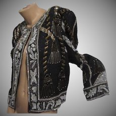 Black Silk Beaded Sequin Jacket Gold Silver Glittery Embroidery Vintage Clothing