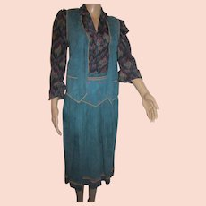 Roberto Cavalli Italy Teal Suede Skirt Vest Tooled Color Design SZ S w blouse
