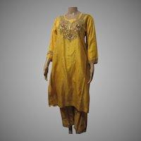 Yellow Silk 2Pc Dress India Gold Bullion Beading Sequins Vintage Salwar Kameez