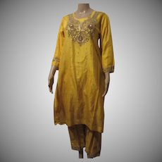 Yellow Silk 2Pc Dress India Gold Bullion Beading Sequins Vintage Salwar Kameez