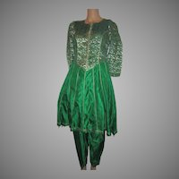 Emerald Green Silk 2Pc Dress India Gold Zari Salwar Kameez