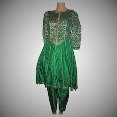 Emerald Green Silk 2Pc Dress India Gold Zari Salwar Kameez
