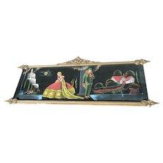 Art Deco Long Painting On Velvet Original Carved Wood Ornate Frame