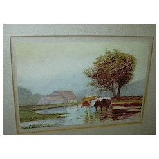 Original Watercolor  Miniature Painting  Emma Johnson Farm Scene With Cows Fine American Art