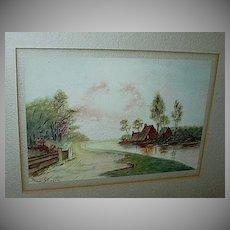 Original Watercolor Miniature Painting  Emma Johnson Farm Pastoral Scene Fine American Art