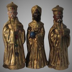 Set 3 Kings Wise Men Christmas Figurines Gold Color Jeweled