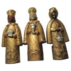 3 Kings Wise Men Nativity Religious Statues Candle Holders Christmas
