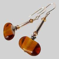 Handcrafted Topaz Lampwork And Swarovski Crystal Earrings