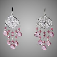 Mystic Pink And Hot Pink Quartz Chandelier Earrings