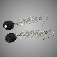 Black Garnet Dangle Earrings