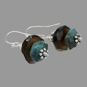 Natural Chrysocolla Chalcedony Drop Earrings