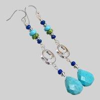 Turquoise, Lapis & Gaspeite Dangle Earrings