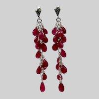 Long Ruby Dangle Post Earrings