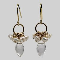 Rock Crystal Quartz, Keshi Pearl, Vermeil Drop Earrings