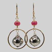 Pyrite And Sapphire Mixed Metal Dangle Earrings