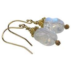 India Blue Moonstone Fancy Cut Vermeil Drop Earrings