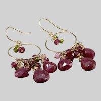 Ruby, Garnet, Quartz And Vesuvianite Chandelier Earrings
