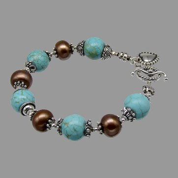 Nevada Turquoise Cultured Pearl Bracelet