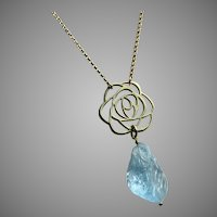 Natural Blue Topaz Hand Carved 14kt GF Necklace