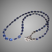 Blue Kyanite Oval Graduated Sterling Silver Necklace