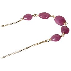 Natural Untreated Pink Sapphire Necklace
