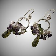 Cubic Zirconia Peridot Vesuvianite Amethyst Cultured Pearl Earrings
