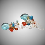 Sky Blue Hydrothermal Quartz, Zircon, Apatite, Citrine Sterling Earrings
