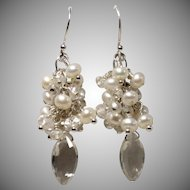 Rock Crystal Quartz Freshwater Pearl Sterling Cluster Earrings