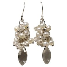 Rock Crystal Quartz Freshwater Pearl Sterling Cluster Earrings