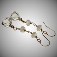 Rock Crystal Quartz Rainbow Moonstone Gold-Fill Dangle Earrings