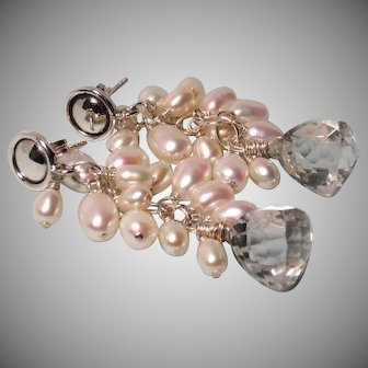Trillion Crystal Quartz Cultured Pearl Earrings