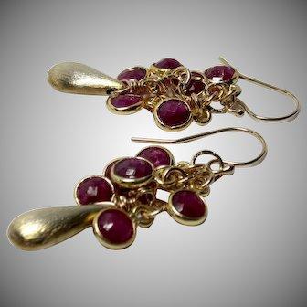 Ruby Bezel Vermeil Briolette Gold-Fill Dangle Earrings