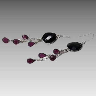 Black Spinel and Rhodolite Garnet Sterling Silver Dangle Earrings