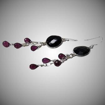 Black Spinel, Rhodolite Garnet Sterling Silver Dangle Earrings
