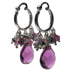 Hydro Thermal Quartz Swarovski Crystal Sterling Hoop Earrings