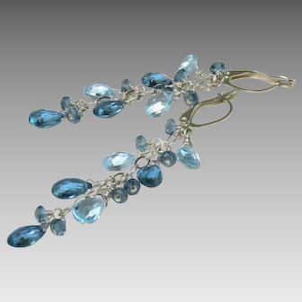London Blue Topaz and Baby Sky Blue Topaz Dangle Earrings